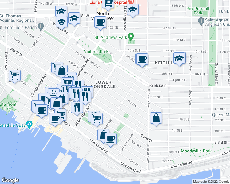 map of restaurants, bars, coffee shops, grocery stores, and more near 244 5th Street East in North Vancouver