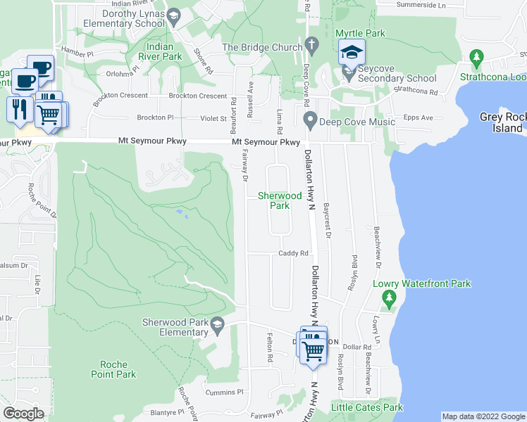 map of restaurants, bars, coffee shops, grocery stores, and more near 811 Huntingdon Crescent in North Vancouver