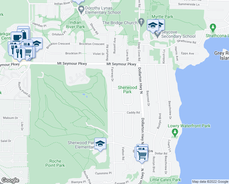 map of restaurants, bars, coffee shops, grocery stores, and more near 828 Fairway Drive in North Vancouver