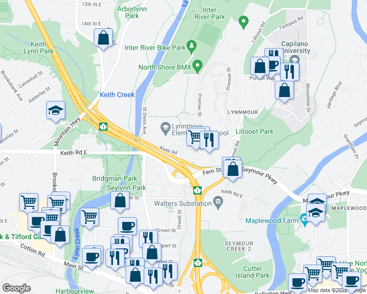 map of restaurants, bars, coffee shops, grocery stores, and more near 716 Orwell Street in North Vancouver