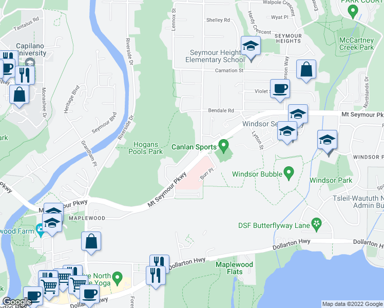 map of restaurants, bars, coffee shops, grocery stores, and more near 870 Browning Place in North Vancouver