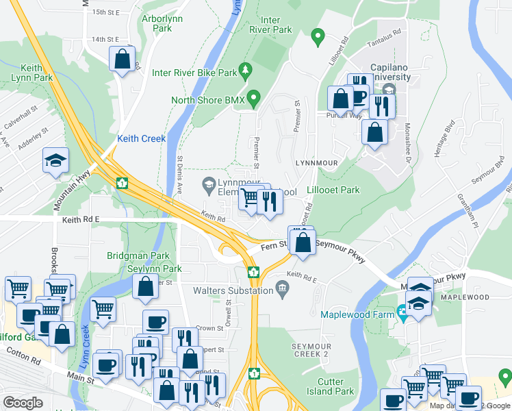 map of restaurants, bars, coffee shops, grocery stores, and more near 719 Premier Street in North Vancouver
