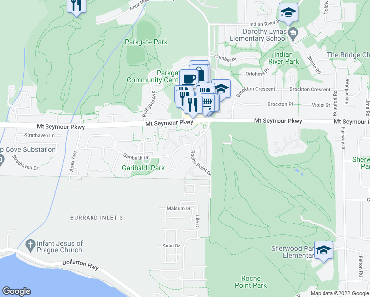 map of restaurants, bars, coffee shops, grocery stores, and more near 3639 Garibaldi Drive in North Vancouver