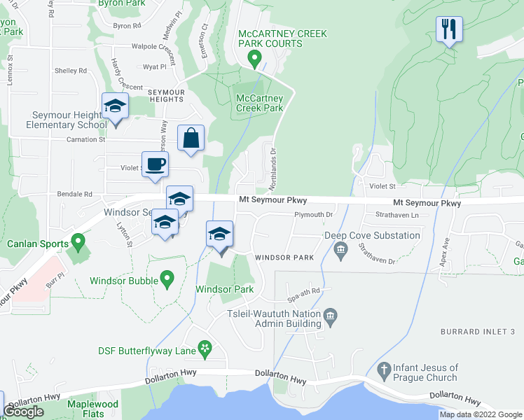 map of restaurants, bars, coffee shops, grocery stores, and more near 2978 Plymouth Drive in North Vancouver