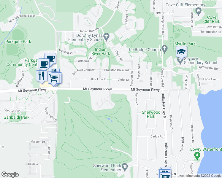 map of restaurants, bars, coffee shops, grocery stores, and more near 4001 Mount Seymour Parkway in North Vancouver