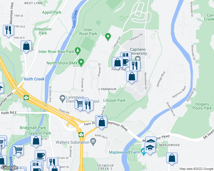 map of restaurants, bars, coffee shops, grocery stores, and more near 984 Lillooet Road in North Vancouver