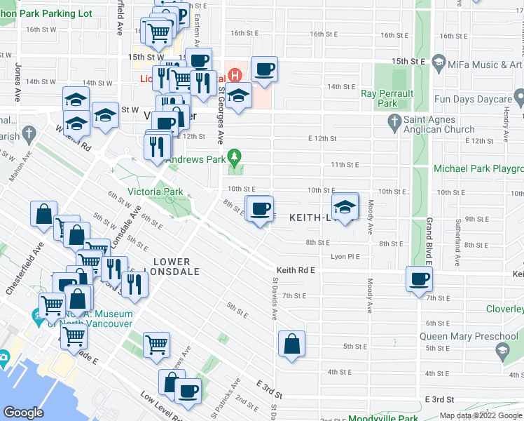 map of restaurants, bars, coffee shops, grocery stores, and more near 272 9th Street East in North Vancouver