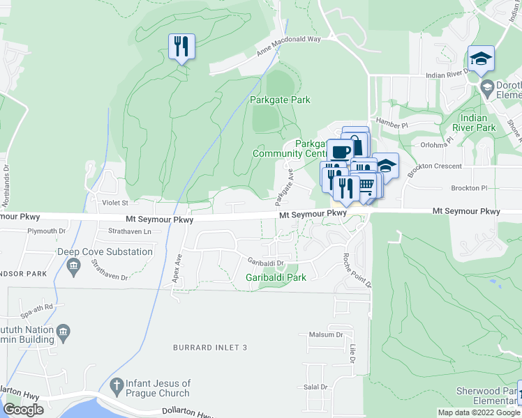 map of restaurants, bars, coffee shops, grocery stores, and more near 3468 Mount Seymour Parkway in North Vancouver