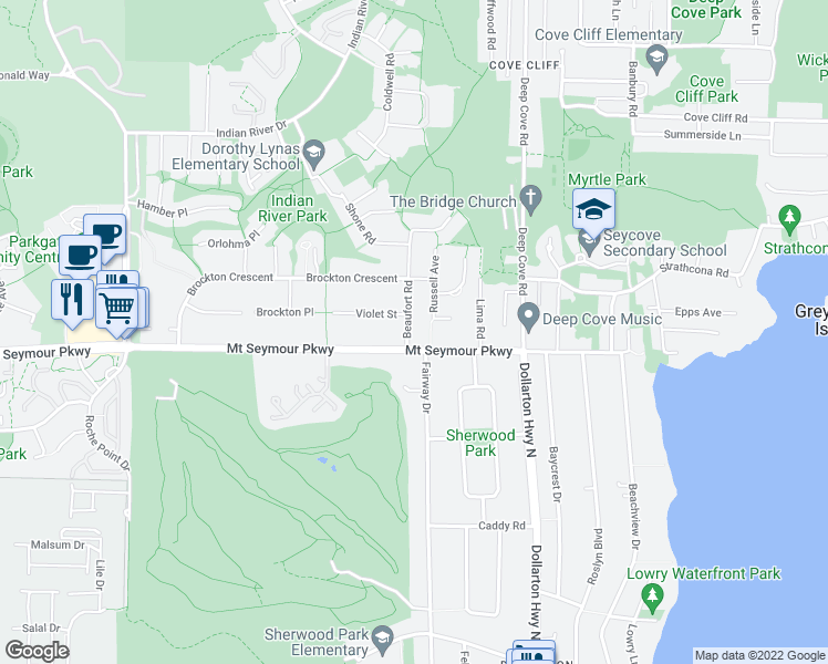map of restaurants, bars, coffee shops, grocery stores, and more near 1032 Beaufort Road in North Vancouver