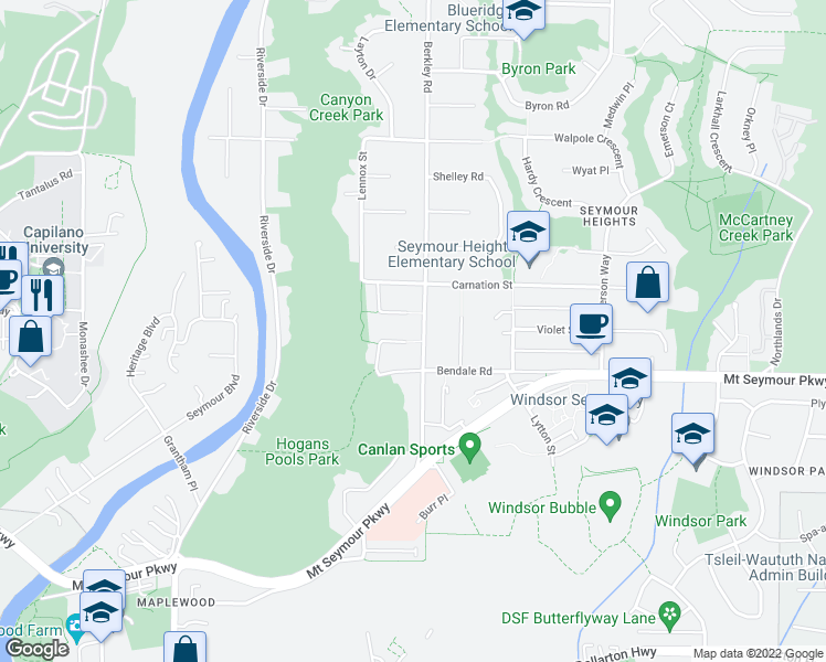 map of restaurants, bars, coffee shops, grocery stores, and more near 2441 Berton Place in North Vancouver