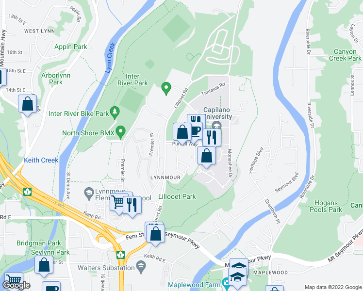 map of restaurants, bars, coffee shops, grocery stores, and more near 1825 Purcell Way in North Vancouver