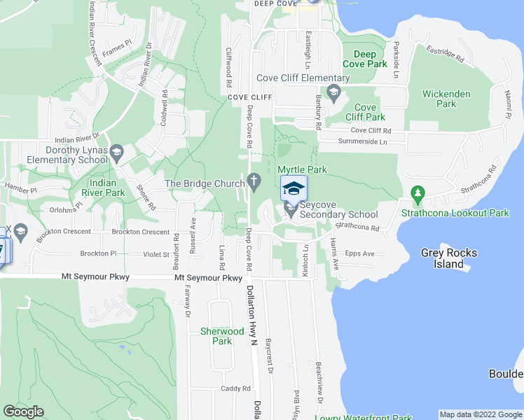 map of restaurants, bars, coffee shops, grocery stores, and more near 1233 Caledonia Avenue in North Vancouver