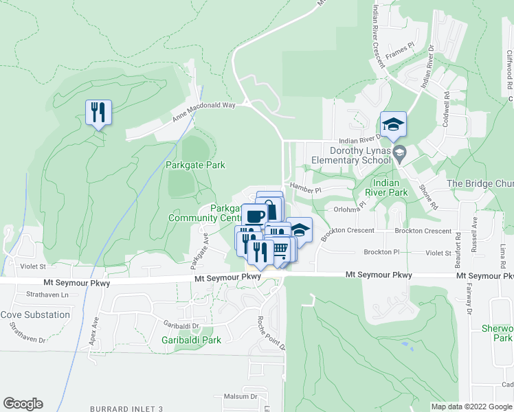 map of restaurants, bars, coffee shops, grocery stores, and more near 3680 Banff Court in North Vancouver