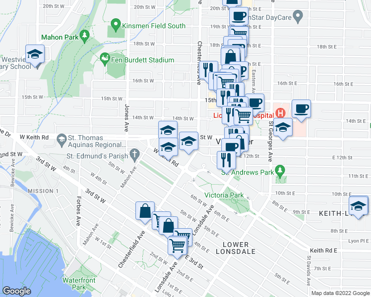 map of restaurants, bars, coffee shops, grocery stores, and more near 217 8th Street West in North Vancouver