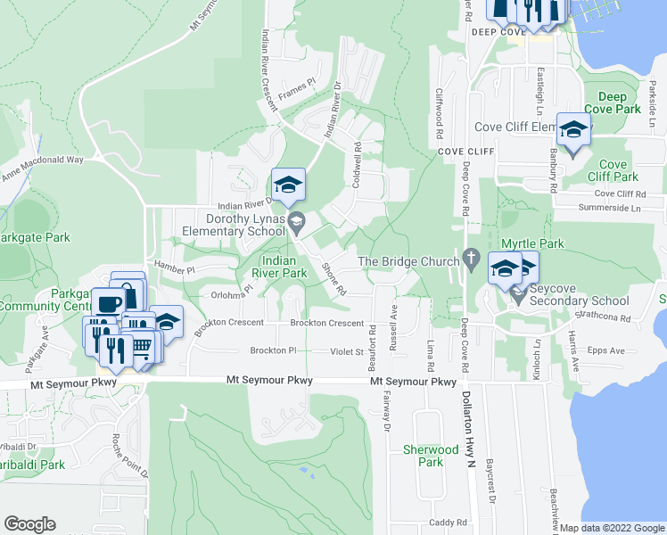 map of restaurants, bars, coffee shops, grocery stores, and more near 4020 Shone Road in North Vancouver
