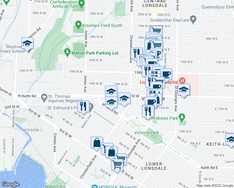 map of restaurants, bars, coffee shops, grocery stores, and more near 253-277 13th Street West in North Vancouver