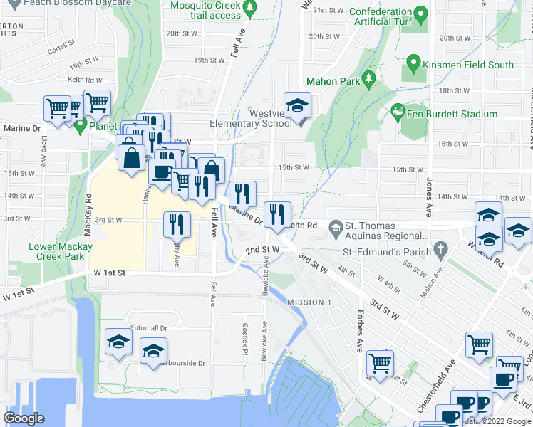 map of restaurants, bars, coffee shops, grocery stores, and more near 317 Bewicke Avenue in North Vancouver