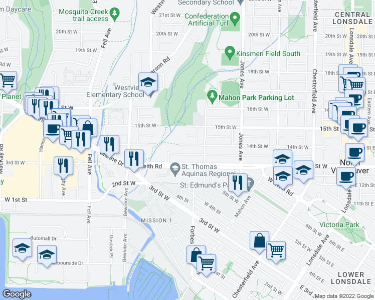 map of restaurants, bars, coffee shops, grocery stores, and more near 535 14th Street West in North Vancouver