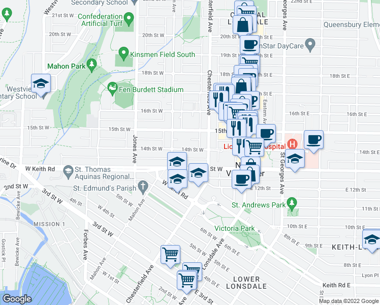 map of restaurants, bars, coffee shops, grocery stores, and more near 225 West 14th Street in North Vancouver