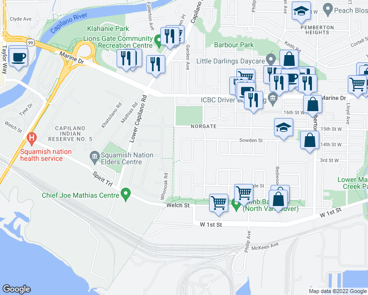 map of restaurants, bars, coffee shops, grocery stores, and more near 1388 Oakwood Crescent in North Vancouver