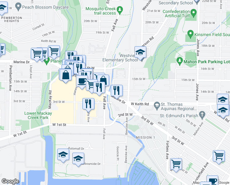 map of restaurants, bars, coffee shops, grocery stores, and more near 733 West 14th Street in North Vancouver