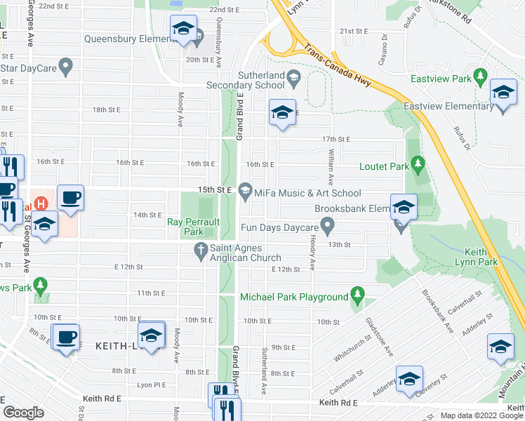 map of restaurants, bars, coffee shops, grocery stores, and more near 1425 Sutherland Avenue in North Vancouver