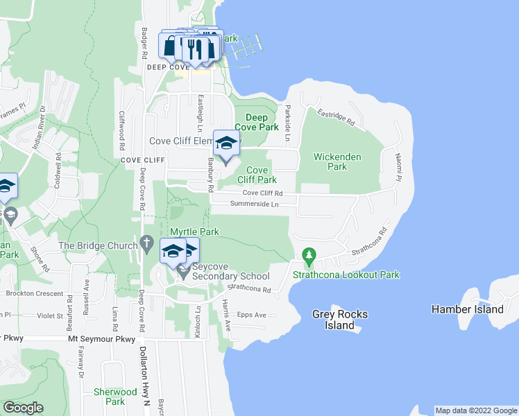 map of restaurants, bars, coffee shops, grocery stores, and more near 4511 Summerside Lane in North Vancouver