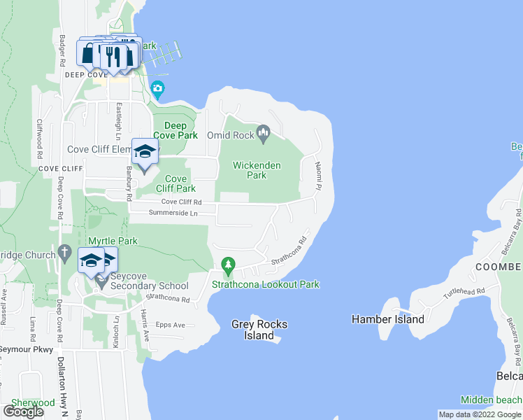 map of restaurants, bars, coffee shops, grocery stores, and more near 4717 Cove Cliff Road in North Vancouver