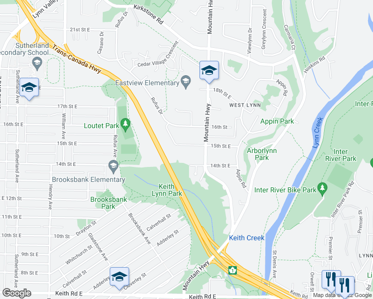 map of restaurants, bars, coffee shops, grocery stores, and more near 1177 15th Street East in North Vancouver