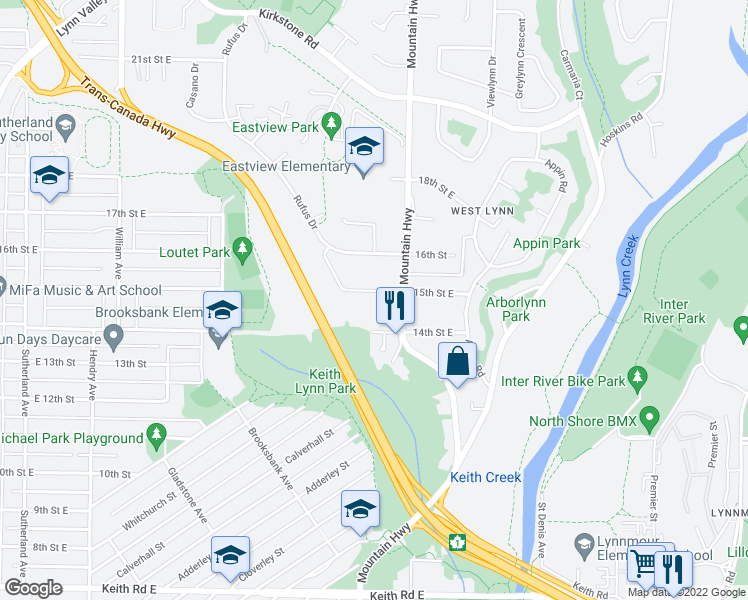 map of restaurants, bars, coffee shops, grocery stores, and more near 1191 East 15th Avenue in Vancouver