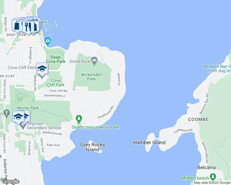 map of restaurants, bars, coffee shops, grocery stores, and more near 4765 Cove Cliff Road in North Vancouver