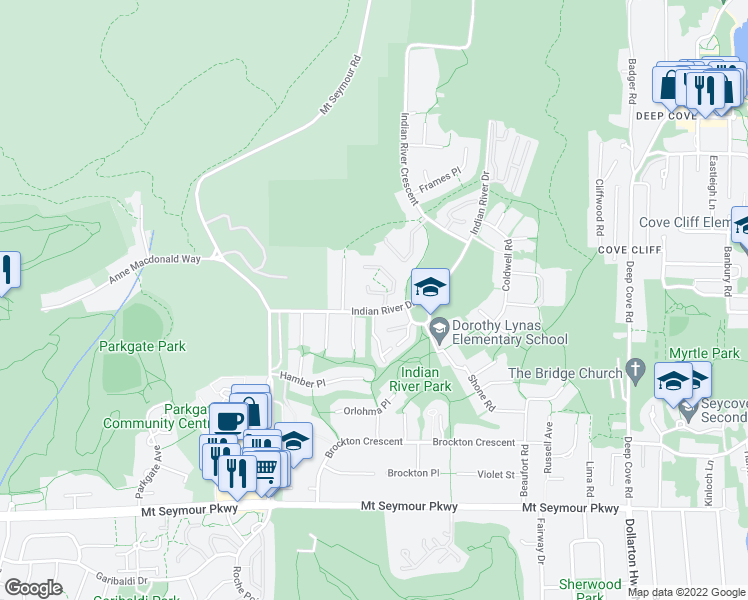 map of restaurants, bars, coffee shops, grocery stores, and more near 3939 Indian River Drive in North Vancouver