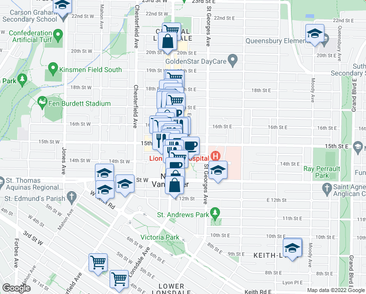 map of restaurants, bars, coffee shops, grocery stores, and more near 121 15th Street East in North Vancouver