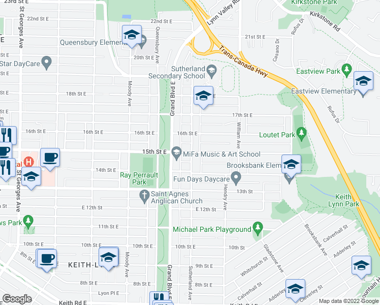 map of restaurants, bars, coffee shops, grocery stores, and more near 859 15th Street East in North Vancouver