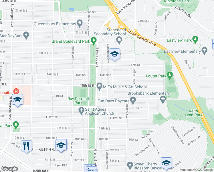 map of restaurants, bars, coffee shops, grocery stores, and more near 715 15th Street East in North Vancouver