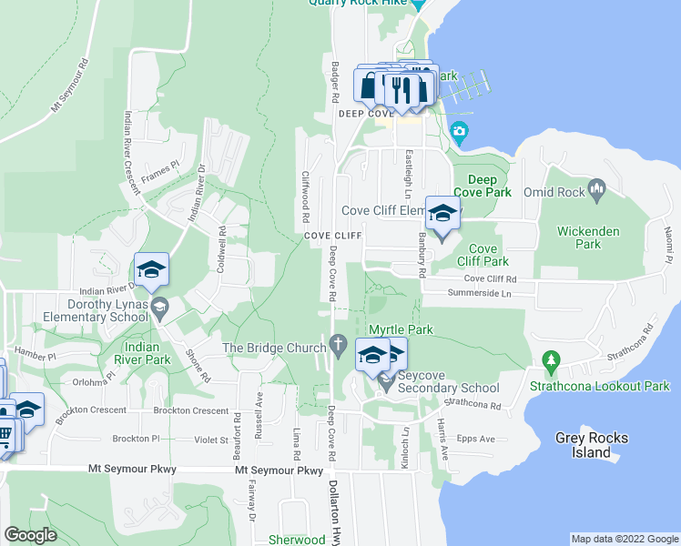 map of restaurants, bars, coffee shops, grocery stores, and more near 1682 Deep Cove Road in North Vancouver
