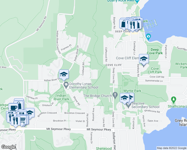 map of restaurants, bars, coffee shops, grocery stores, and more near 1500 Ostler Court in North Vancouver