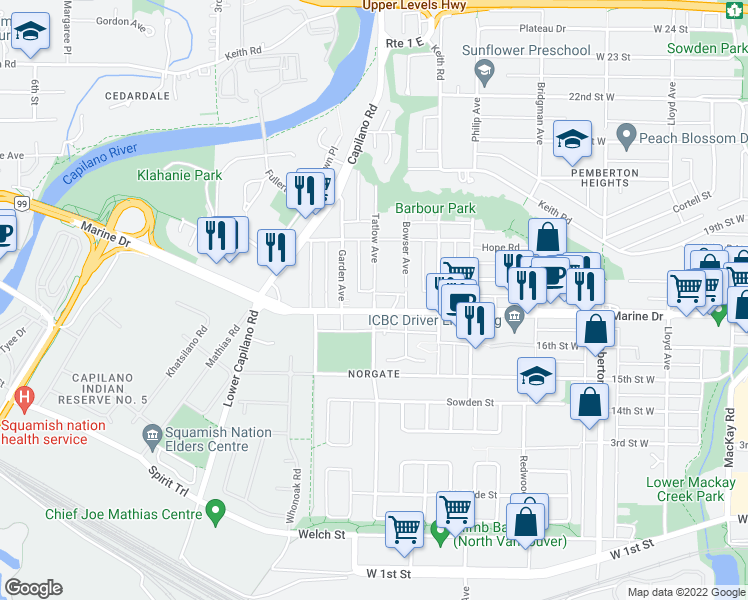 map of restaurants, bars, coffee shops, grocery stores, and more near 1744 Tatlow Avenue in North Vancouver