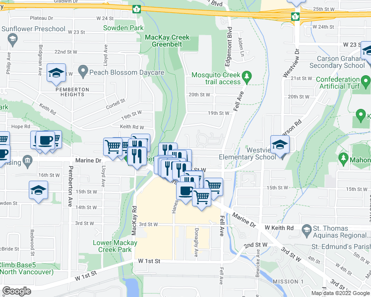 map of restaurants, bars, coffee shops, grocery stores, and more near 901 17th Street West in North Vancouver