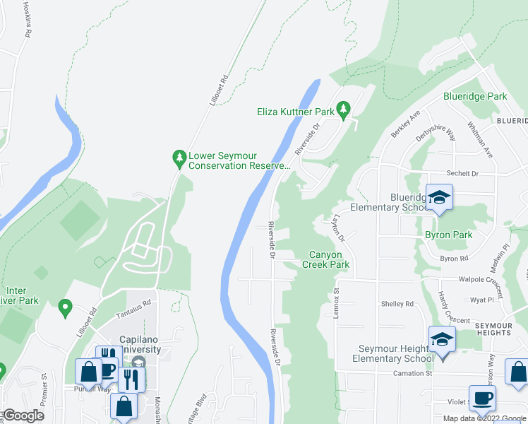 map of restaurants, bars, coffee shops, grocery stores, and more near 1875 Riverside Drive in North Vancouver