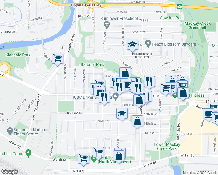 map of restaurants, bars, coffee shops, grocery stores, and more near 1369 17th Street West in North Vancouver