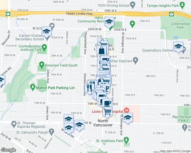 map of restaurants, bars, coffee shops, grocery stores, and more near 125 West 18th Street in North Vancouver