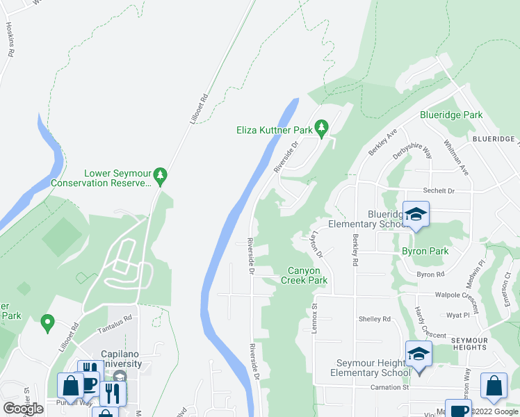 map of restaurants, bars, coffee shops, grocery stores, and more near 2000 Riverside Drive in North Vancouver