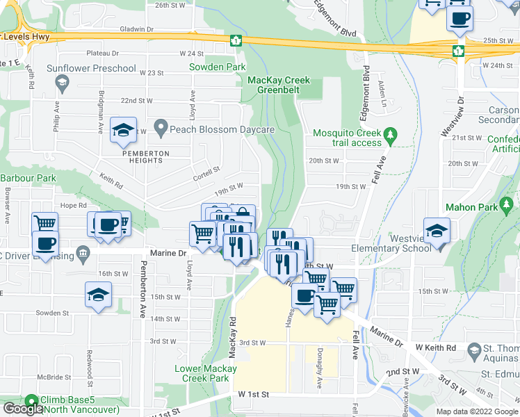map of restaurants, bars, coffee shops, grocery stores, and more near 586 Keith Road in West Vancouver