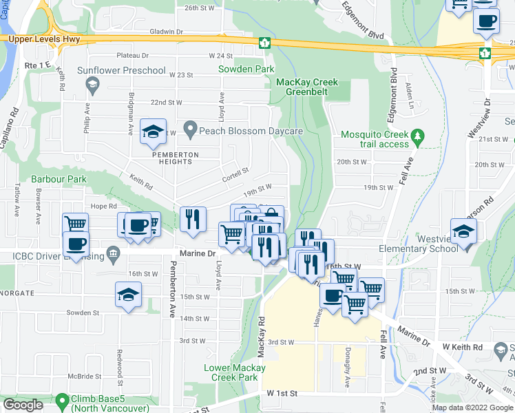 map of restaurants, bars, coffee shops, grocery stores, and more near Keith Road West in Greater Vancouver