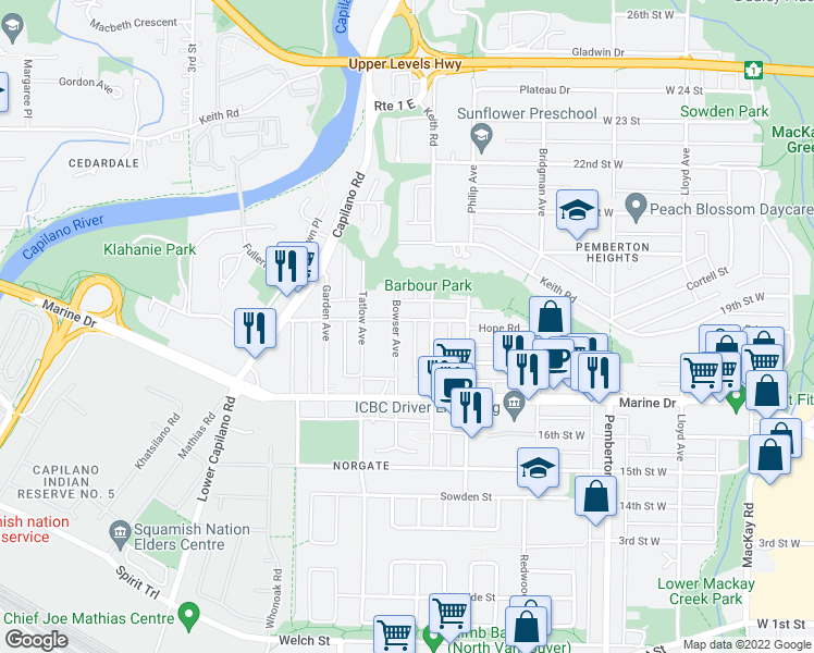map of restaurants, bars, coffee shops, grocery stores, and more near 1585 Hope Road in North Vancouver
