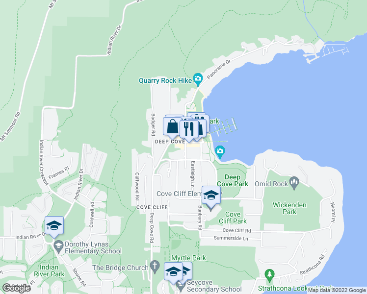 map of restaurants, bars, coffee shops, grocery stores, and more near 2181 Panorama Drive in North Vancouver