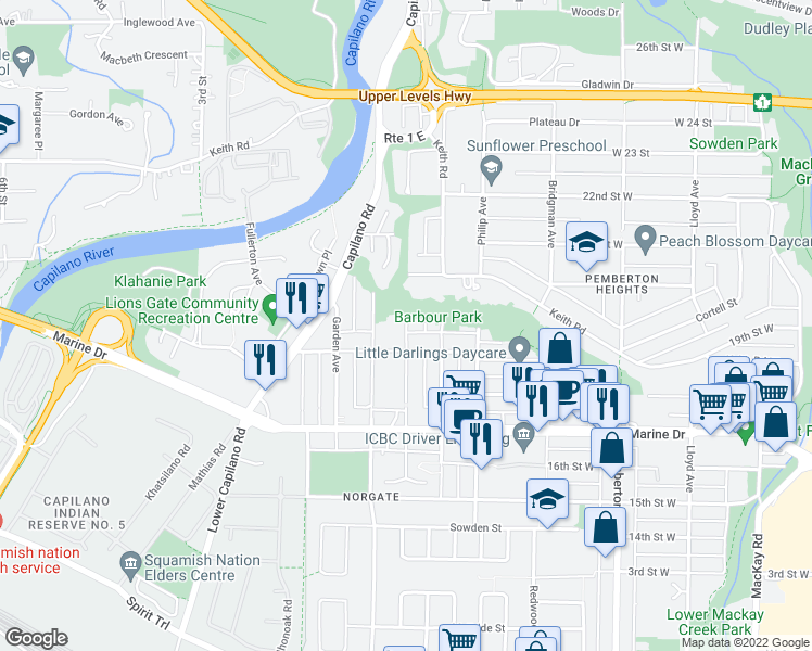 map of restaurants, bars, coffee shops, grocery stores, and more near 1865 Bowser Avenue in North Vancouver