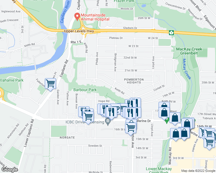 map of restaurants, bars, coffee shops, grocery stores, and more near 1311 Keith Road in North Vancouver