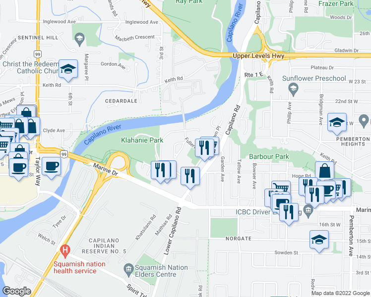 map of restaurants, bars, coffee shops, grocery stores, and more near 1828 Belle Isle Place in North Vancouver